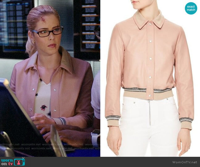 Sandro Biopic Collared Bomber Jacket worn by Felicity Smoak (Emily Bett Rickards) on Arrow
