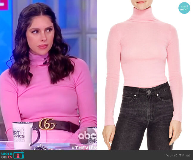 Calico Fitted Turtleneck Sweater by Sandro worn by Abby Huntsman on The View