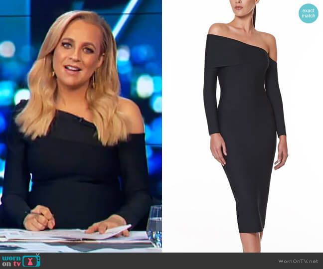 Valeria Off The Shoulder Bodycon Dress by Santina Nicole worn by Carrie Bickmore on The Project