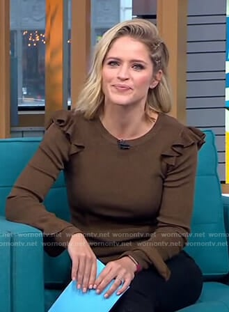 Sara's brown ruffled sweater on GMA Day
