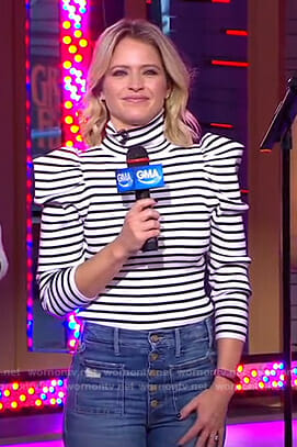 Sara's striped puff sleeve sweater and jeans on GMA Day