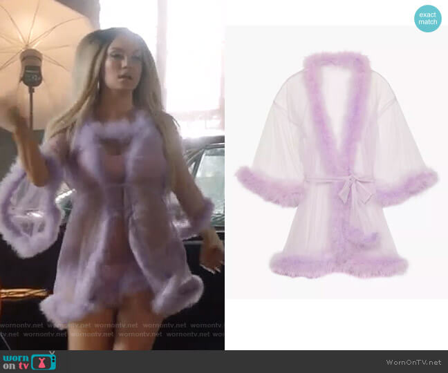 Sheer Marabou Short Robe by Savage x Fenty worn by Star Davis (Jude Demorest) on Star