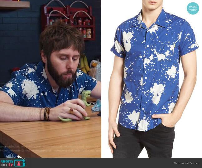 Amsterdams Blauw Allover Print Camp Shirt by Scotch & Soda worn by Chewey (James Buckley) on I Feel Bad