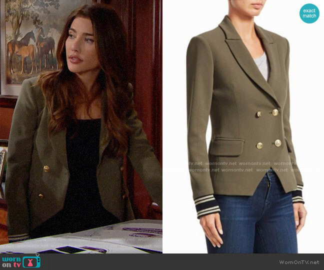Scripted Double Breasted Blazer worn by Steffy Forrester (Jacqueline MacInnes Wood) on The Bold & the Beautiful