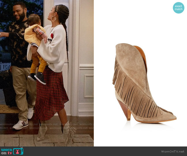 Sigerson Morrison Giliana Suede Fringe Western Booties worn by Zoey Johnson (Yara Shahidi) on Blackish