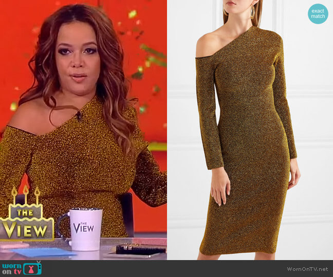 Liva cold-shoulder stretch-Lurex dress by Solace London worn by Sunny Hostin  on The View