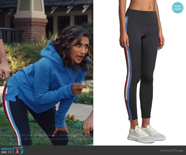 Side-Stripe High-Rise Activewear Track Tights by Spiritual Gangster worn by Sarayu Blue on I Feel Bad