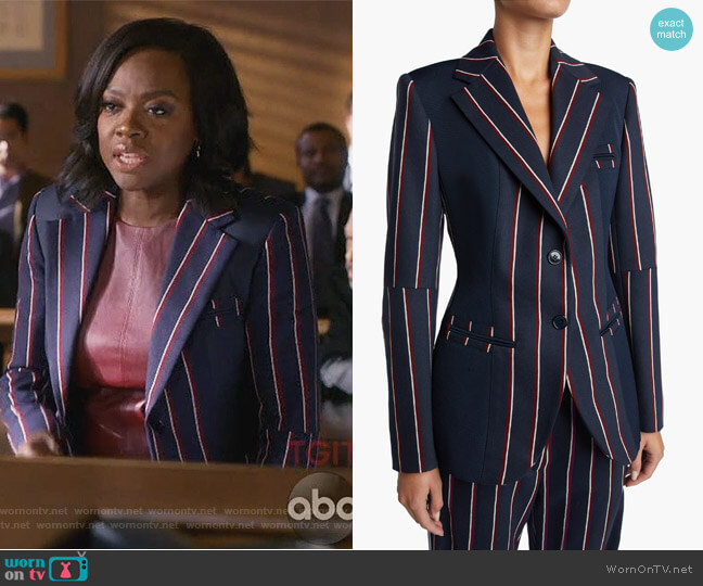 Striped Wool Jacket by Sportmax worn by Annalise Keating (Viola Davis) on HTGAWM