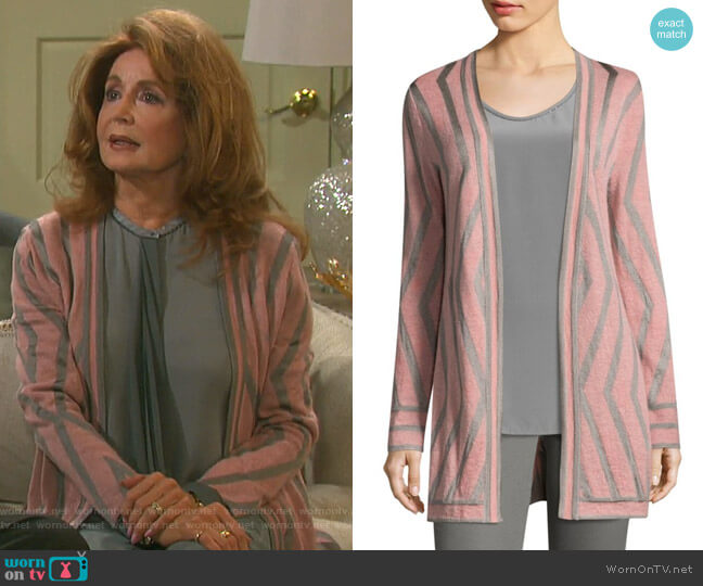Matte Jacquard Knit Cardigan by St. John Collection worn by Maggie Horton (Suzanne Rogers) on Days of our Lives