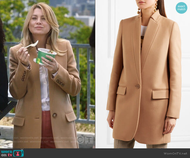Bryce Coat by Stella McCartney worn by Meredith Grey (Ellen Pompeo) on Greys Anatomy