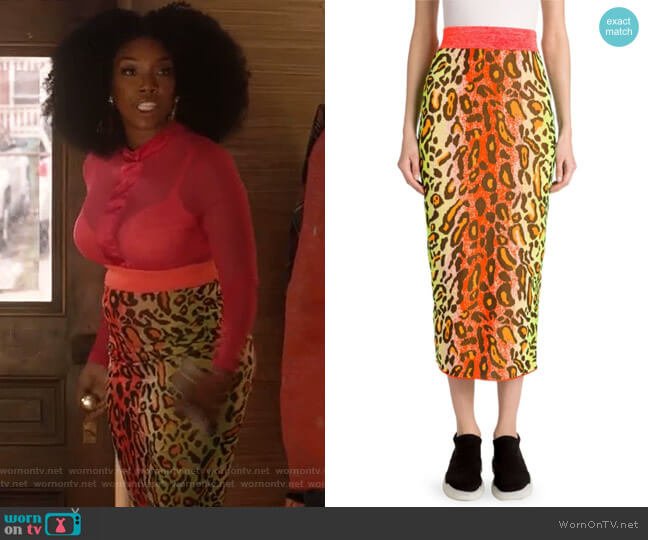 Neon Jacquard Stretch Midi Skirt by Stella McCartney worn by Brandy Norwood on Star