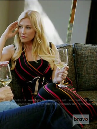 Stephanie's black striped jumpsuit on The Real Housewives of Dallas