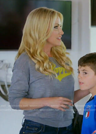 Stephanie's grey Happy Sweater on The Real Housewives of Dallas