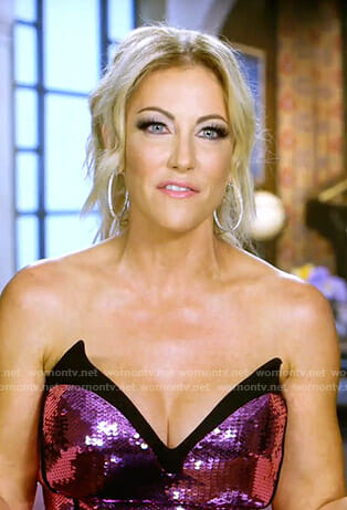 Stephanie's sequin strapless gown on The Real Housewives of Dallas