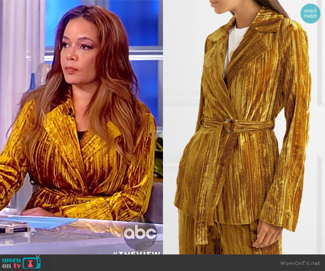 Lora belted crushed-velvet blazer by Stine Goya worn by Sunny Hostin (Sunny Hostin) on The View
