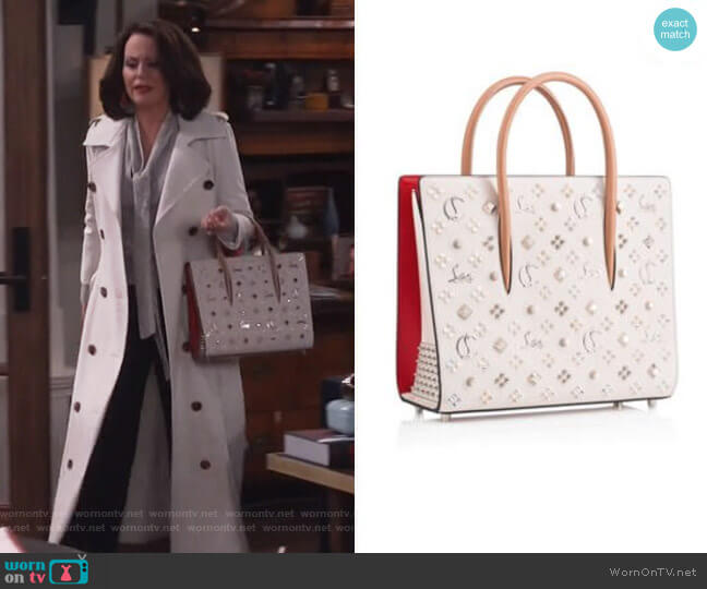 Studded Paloma Tote by Christian Louboutin worn by Karen Walker (Megan Mullally) on Will & Grace