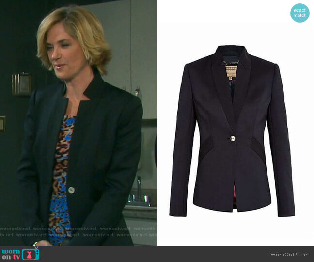Aaleeya Ottoman Blazer by Ted Baker worn by Eve Donovan (Kassie DePaiva) on Days of our Lives