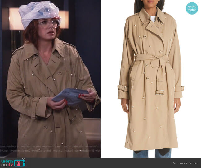 Grace's pearl trench coat on Will and Grace