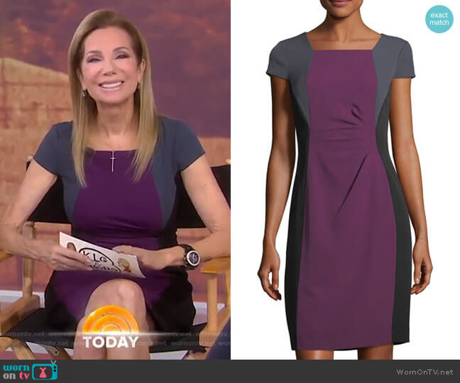 Colorblock Short-Sleeve Sheath Dress by Tahari ASL worn by Kathie Lee Gifford  on Today