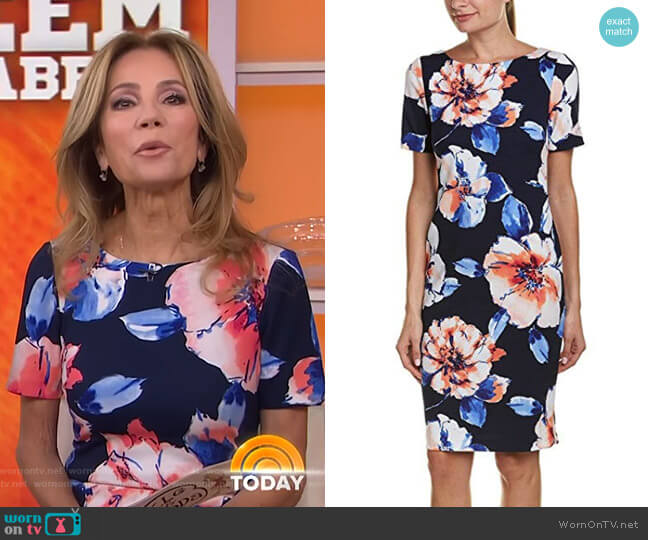 Floral Scuba Crepe Sheath Dress by Tahari ASL worn by Kathie Lee Gifford (Kathie Lee Gifford) on Today