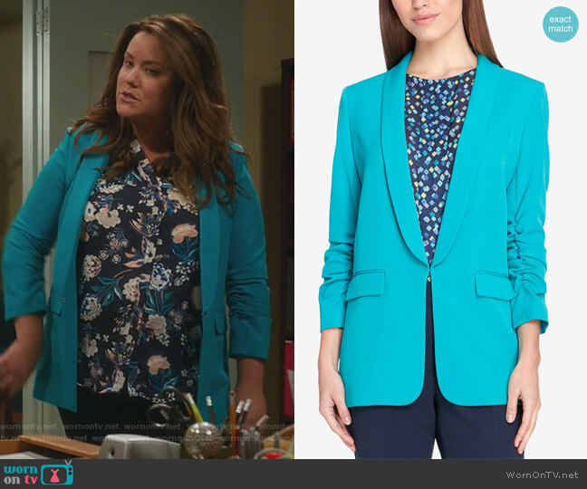 Kiss-Front Blazer by Tahari ASL worn by Katy Mixon on American Housewife