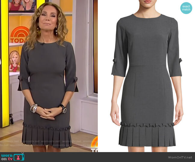 Pleated-Trim Twill Sheath Dress by Tahari ASL worn by Kathie Lee Gifford  on Today