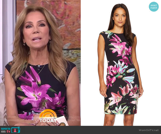 Printed Scuba Sheath Dress by Tahari ASL worn by Kathie Lee Gifford  on Today