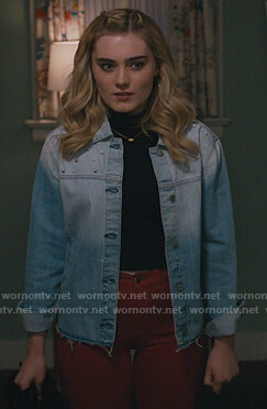 Taylor's pearl embellished denim jacket on American Housewife