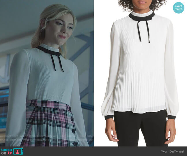 Pleated High Neck Chiffon Top by Ted Baker worn by The Frost Sisters (Skyler Samuels) on The Gifted