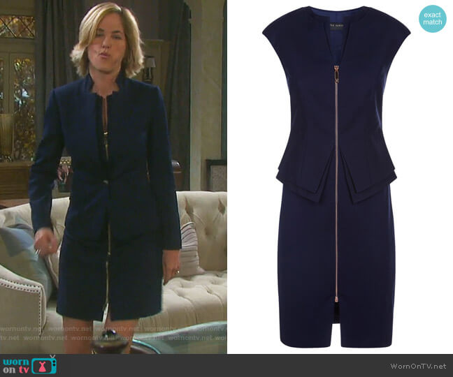 Structured Zip Peplum Dress by Ted Baker worn by Eve Donovan (Kassie DePaiva) on Days of our Lives