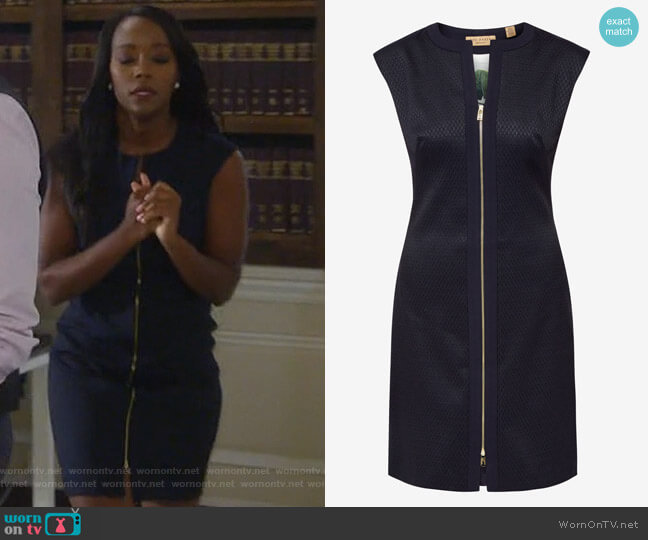 Navy Textured Zip-Front Dress by Ted Baker worn by Michaela Pratt (Aja Naomi King) on HTGAWM