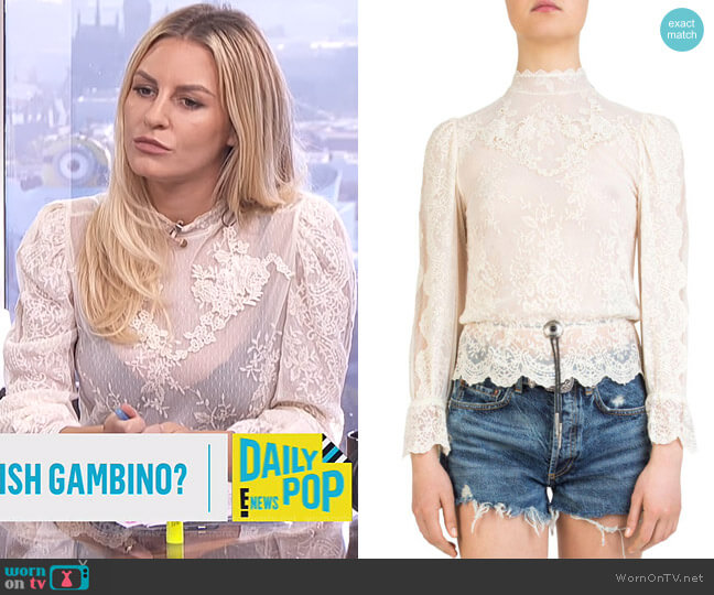 Bolo-Detail Lace Top by The Kooples worn by Morgan Stewart on E! News