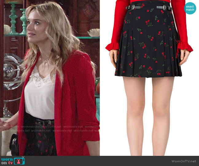 The Kooples Cherry Love Print Skirt worn by Summer Newman (Hunter King) on The Young & the Restless