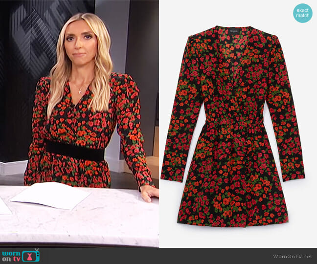 Silk Dress with Camellia Rose Print by The Kooples worn by Giuliana Rancic  on E! News