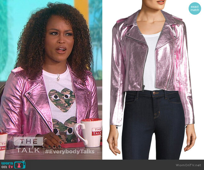 Metallic Leather Jacket by The Mighty Company worn by Eve (Eve) on The Talk