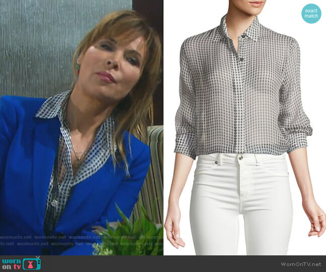 Gingham Essential Silk Button-Down Top by Theory worn by Kate Roberts (Lauren Koslow) on Days of our Lives
