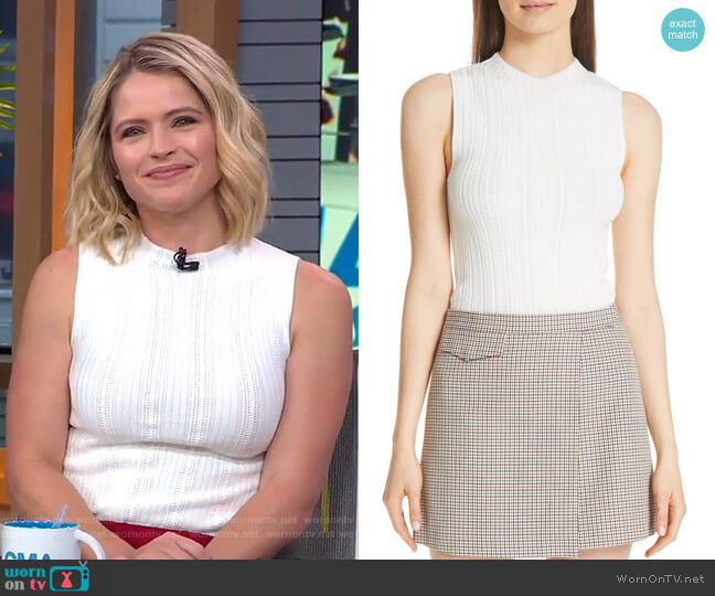 Pointelle Knit Shell by Theory worn by Sara Haines on Good Morning America