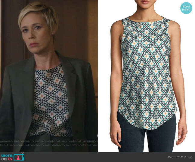 Printed Silk Sleeveless Racerback Top by Theory worn by Bonnie Winterbottom (Liza Weil) on HTGAWM