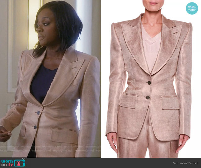 Metallic Twill Two-Button Jacket with Strong Shoulders by Tom Ford worn by Annalise Keating (Viola Davis) on HTGAWM