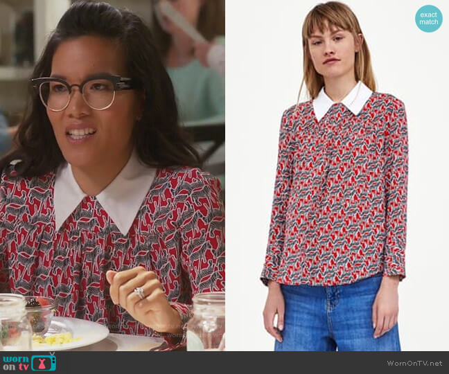 Top with Contrasting Collar by Zara worn by Doris (Ali Wong) on American Housewife