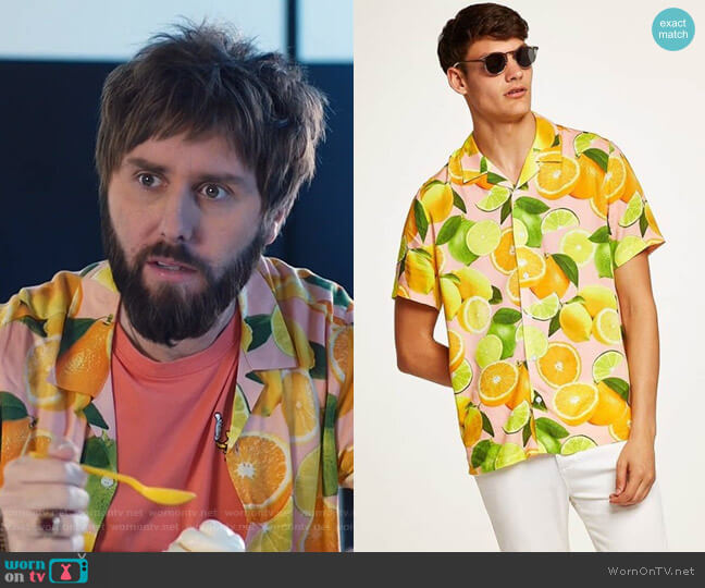 Lemon Print Camp Shirt by Topman worn by James Buckley on I Feel Bad