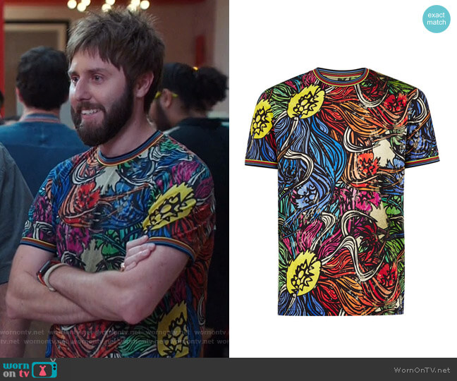 Multicoloured Floral T-Shirt by Topman worn by Chewey (James Buckley) on I Feel Bad