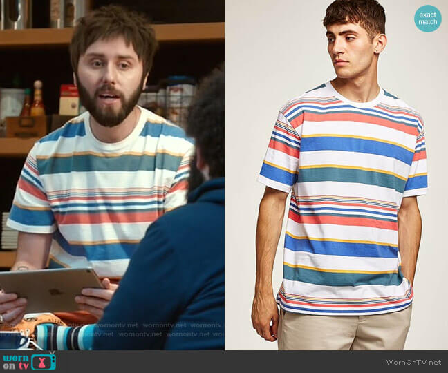 Rainbow Stripe T-Shirt by Topman worn by Chewey (James Buckley) on I Feel Bad