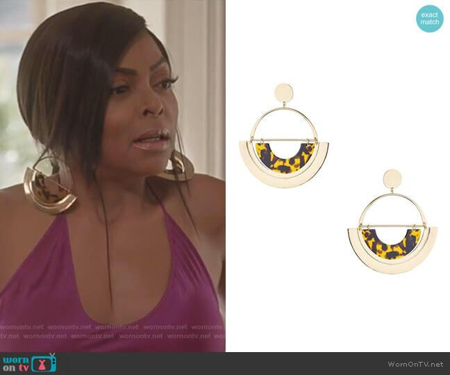 Oversized Tortoiseshell Semi Circle Earrings by Topshop worn by Cookie Lyon (Taraji P. Henson) on Empire