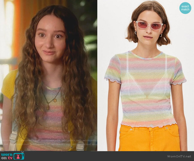 Pastel Rainbow T-Shirt by Topshop worn by Mae (Olivia Keville) on Splitting Up Together