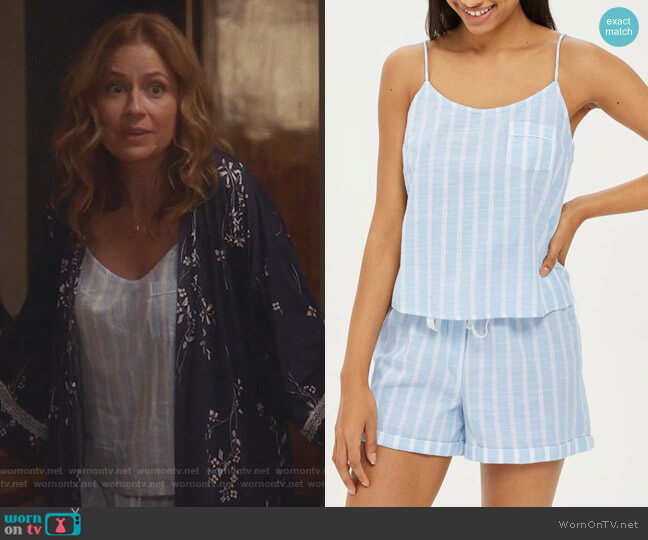 Stripe Camisole Pajama Top and Shorts by Topshop worn by Jenna Fischer on Splitting Up Together