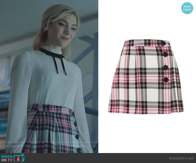 Tartan Checked Button Kilt A-Line Skirt by Topshop worn by The Frost Sisters (Skyler Samuels) on The Gifted