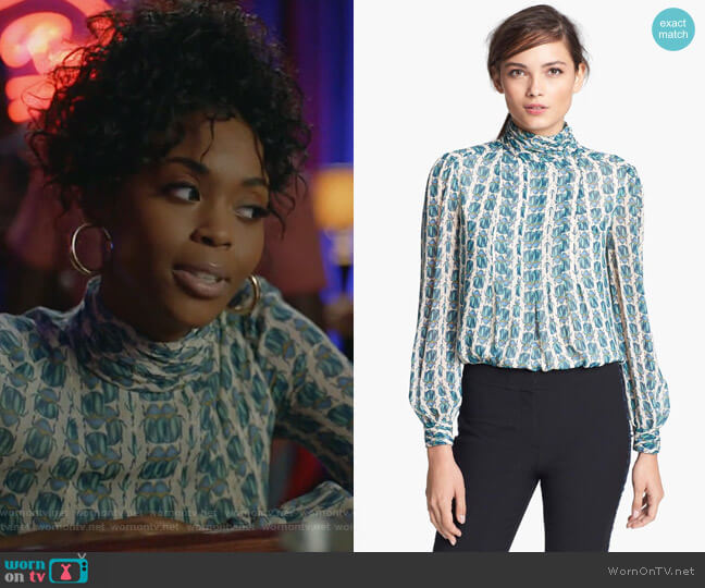 Jasmine Top in Scarab Print by Tory Burch worn by Anissa Pierce (Nafessa Williams) on Black Lightning