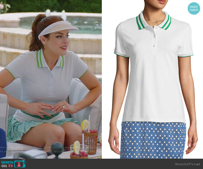 Pleated-Collar Short-Sleeve Polo Top by Tory Sport worn by Fallon Carrington (Elizabeth Gillies) on Dynasty