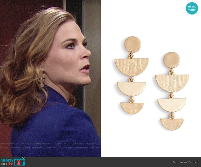 Treasure & Bond Etched Chandelier Earrings worn by Phyllis Newman (Gina Tognoni) on The Young & the Restless